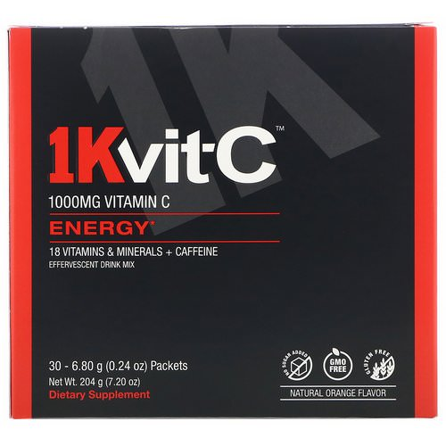 1Kvit-C, Vitamin C, Energy, Effervescent Drink Mix, Natural Orange Flavor, 1,000 mg, 30 packets. 0.24 oz (6.80 g) Each Review