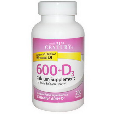 21st Century Health Care, 600+D3, Calcium Supplement, 200 Caplets