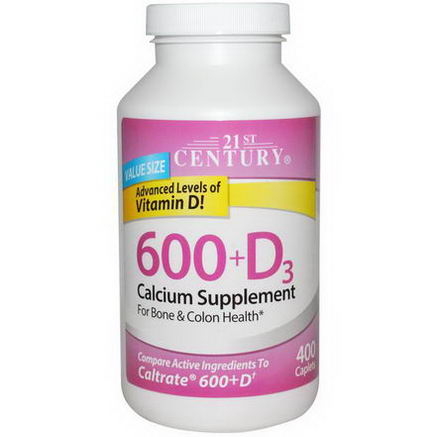 21st Century Health Care, 600+D3, Calcium Supplement, 400 Caplets