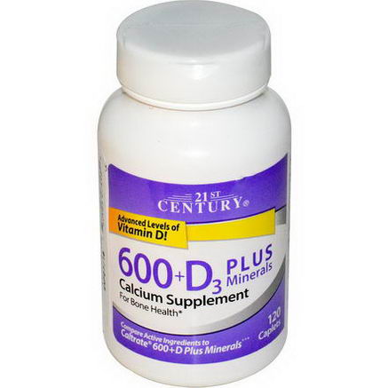 21st Century Health Care, 600+D3 Plus Minerals, 120 Caplets