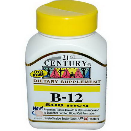 21st Century Health Care, B-12, 500 mcg, 110 Tablets