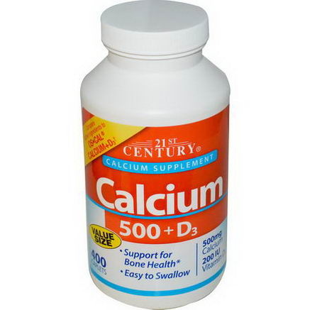 21st Century Health Care, Calcium 500 + D3, 500mg, 400 Caplets