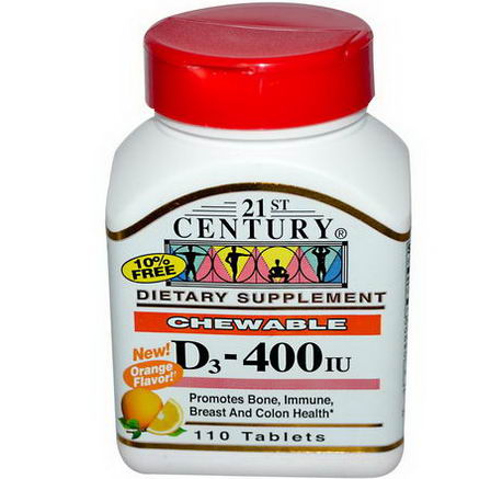 21st Century Health Care, Chewable D3, Orange Flavor, 400 IU, 110 Tablets