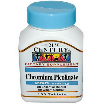 21st Century Health Care, Chromium Picolinate, 200 mcg, 100 Tablets