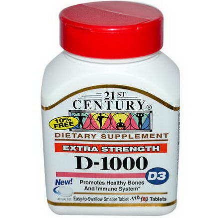 21st Century Health Care, D-1000, D3, Extra Strength, 110 Tablets