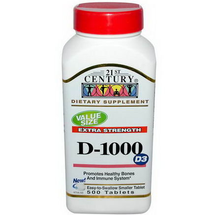 21st Century Health Care, D-1000, D3, Extra Strength, 500 Tablets