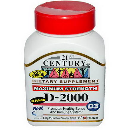21st Century Health Care, D-2000, D3, Maximum Strength, 110 Tablets