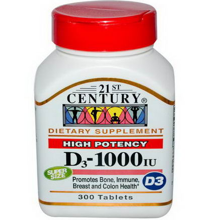 21st Century Health Care, D3, 1000 IU, 300 Tablets
