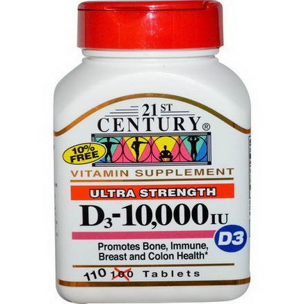 21st Century Health Care, D3, Ultra Strength, 10, 000 IU, 110 Tablets
