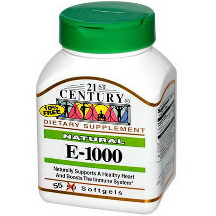 21st Century Health Care, E-1000, Natural, 55 Softgels