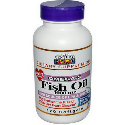 21st Century Health Care, Fish Oil, 1000mg, 120 Softgels