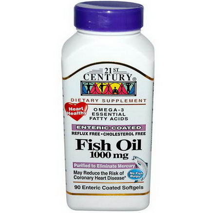 21st Century Health Care, Fish Oil, 1000mg, 90 Enteric Coated Softgels