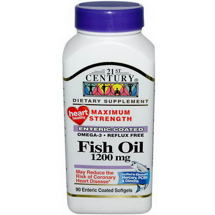 21st Century Health Care, Fish Oil, Maximum Strength, 1200mg, 90 Enteric Coated Softgels