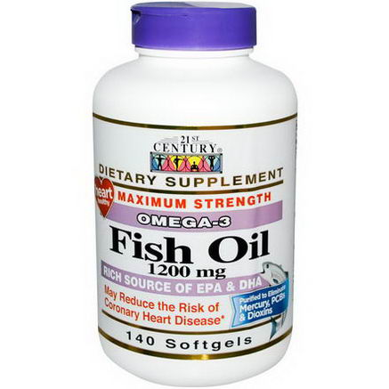 21st Century Health Care, Fish Oil, Omega-3, Maximum Strength, 1200mg, 140 Softgels