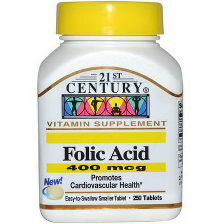 21st Century Health Care, Folic Acid, 400 mcg, 250 Tablets
