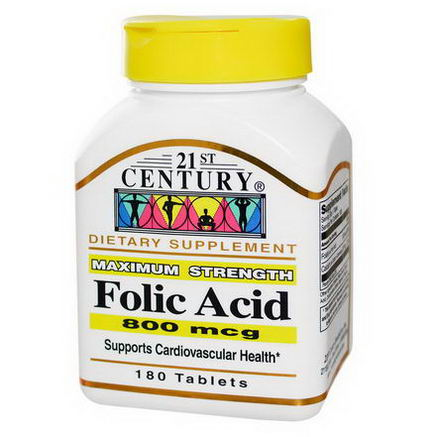 21st Century Health Care, Folic Acid, 800 mcg, 180 Tablets