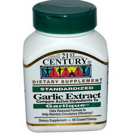 21st Century Health Care, Garlic Extract, Standardized, 60 Coated Tablets