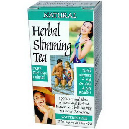 21st Century Health Care, Herbal Slimming Tea, Caffeine Free, Natural, 24 Tea Bags, 1.6oz (45g)