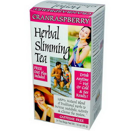 21st Century Health Care, Herbal Slimming Tea, Cranraspberry, Caffeine Free, 24 Tea Bags, 1.6oz (45g)