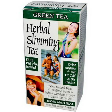 21st Century Health Care, Herbal Slimming Tea, Green Tea, 24 Tea Bags, 1.6oz (45g)