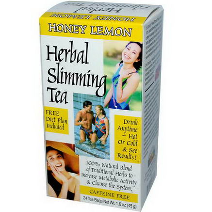 21st Century Health Care, Herbal Slimming Tea, Honey-Lemon, Caffeine Free, 24 Tea Bags, 1.6oz (45g)