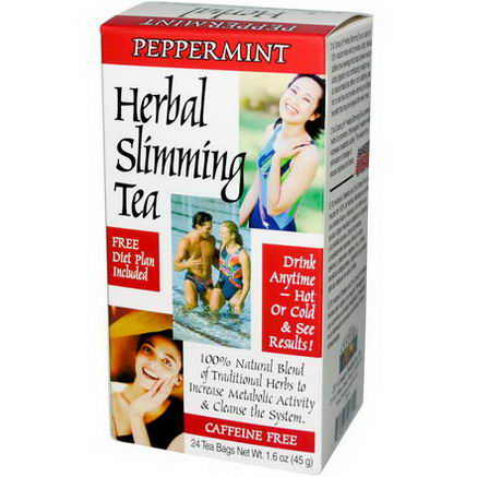 21st Century Health Care, Herbal Slimming Tea, Peppermint, 24 Bags, 1.6oz (45g)