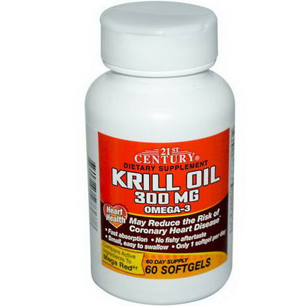 21st Century Health Care, Krill Oil, 300mg, 60 Softgels