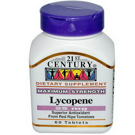 21st Century Health Care, Lycopene, Maximum Strength, 25mg, 60 Tablets