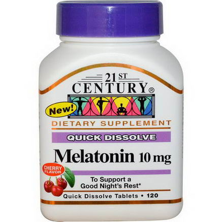21st Century Health Care, Melatonin, Cherry Flavor, 10mg, 120 Quick Dissolve Tablets