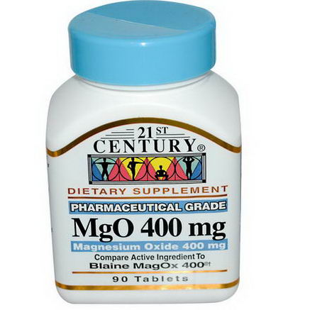 21st Century Health Care, MgO, Magnesium Oxide, 400mg, 90 Tablets