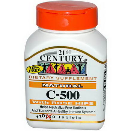 21st Century Health Care, Natural C-500 with Rose Hips, 110 Tablets