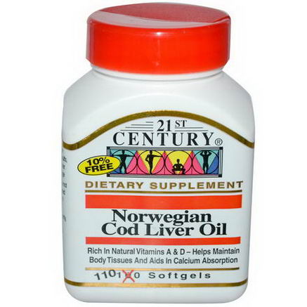 21st Century Health Care, Norwegian Cod Liver Oil, 110 Softgels