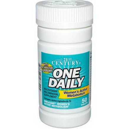 21st Century Health Care, One Daily, Women's Active Metabolism, Multivitamin Multimineral, 50 Tablets