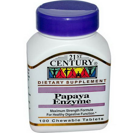 21st Century Health Care, Papaya Enzyme, 100 Chewable Tablets