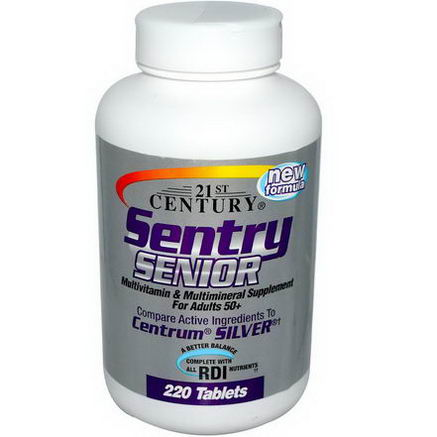 21st Century Health Care, Sentry Senior, For Adults 50+ Multivitamin Multimineral, 220 Tablets