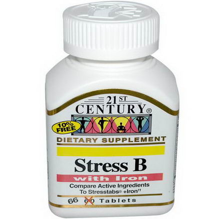 21st Century Health Care, Stress B, with Iron, 66 Tablets