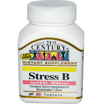 21st Century Health Care, Stress B with Zinc, 66 Tablets