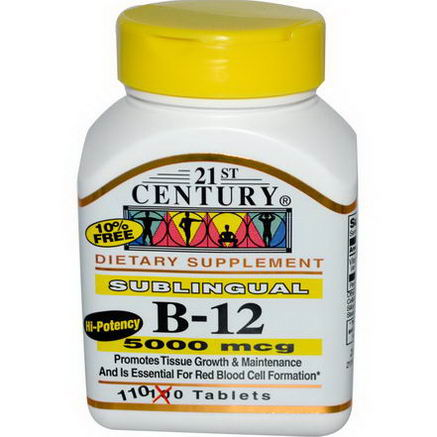21st Century Health Care, Sublingual B-12, 5000 mcg, 110 Tablets