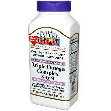 21st Century Health Care, Triple Omega Complex 3-6-9, 90 Enteric Coated Softgels