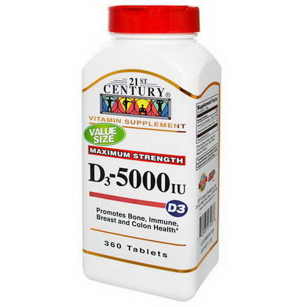 21st Century Health Care, Vitamin D3, 5000 IU, 360 Tablets