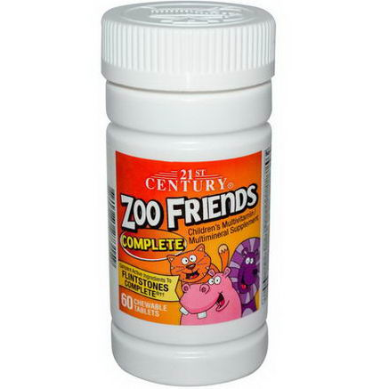 21st Century Health Care, Zoo Friends Complete, Children's Multivitamin Multimineral, 60 Chewable Tablets