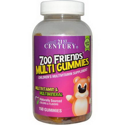 21st Century Health Care, Zoo Friends Multi Gummies, Children's Multivitamin Supplement, 150 Gummies
