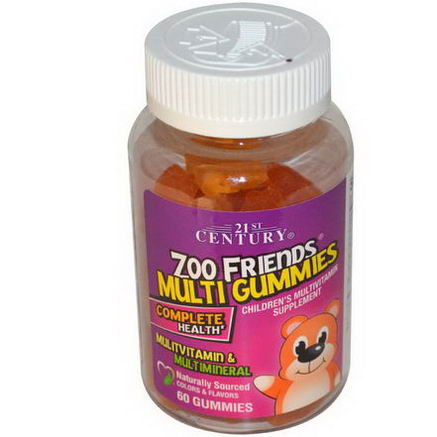 21st Century Health Care, Zoo Friends Multi Gummies, Children's Multivitamin Supplement, 60 Gummies