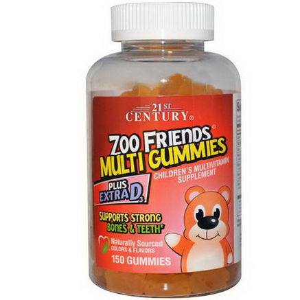 21st Century Health Care, Zoo Friends Multi Gummies Plus Extra D3, 150 Gummies
