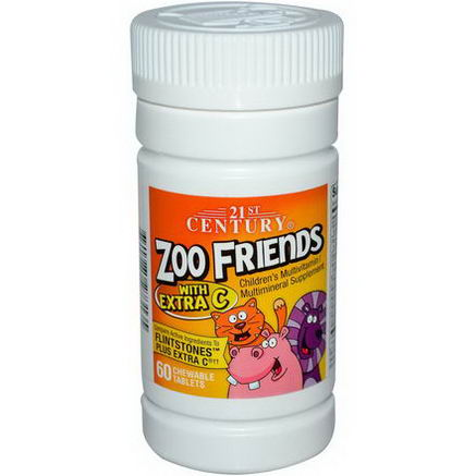 21st Century Health Care, Zoo Friends with Extra C, Children's Multivitamin Multimineral, 60 Chewable Tablets