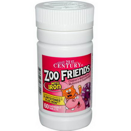21st Century Health Care, Zoo Friends with Iron, Children's Multivitamin/Multimineral, 60 Chewable Tablets