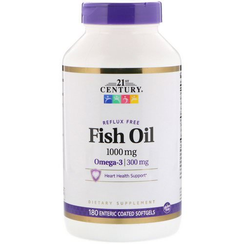 21st Century, Fish Oil Reflux Free, 1000 mg, 180 Enteric Coated Softgels Review