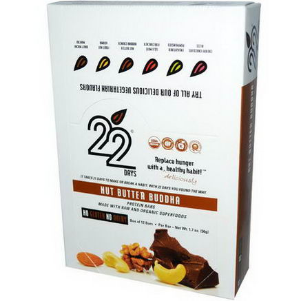 22 Days Nutrition, 22 Days, Protein Bars, Nut Butter Buddha, 12 Bars, 1.7oz (50g) Each