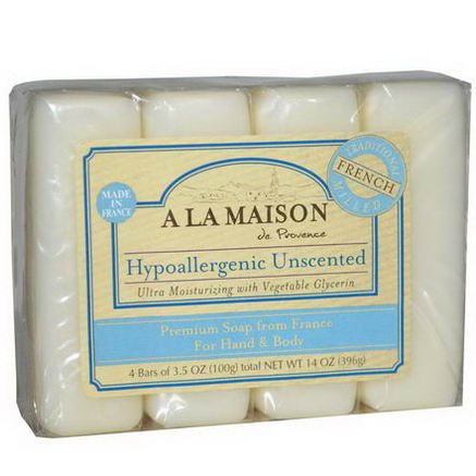 A La Maison de Provence, Hand & Body Bar Soap, Hypoallergenic Unscented, 4 Bars, 3.5oz (100g) Each