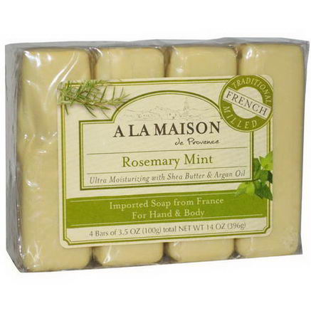 A La Maison de Provence, Hand & Body Bar Soap, Rosemary Mint, 4 Bars, 3.5oz (100g) Each